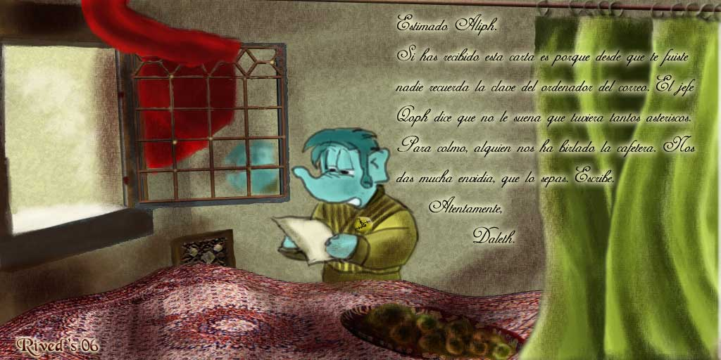 Aliphant CCXXV. Aliphant leyendo una carta frente a la ventana sin Vermeer